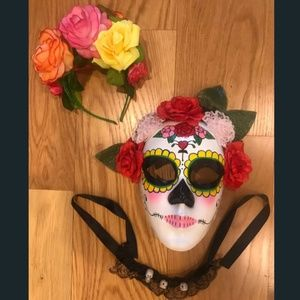 Other - Day of the Dead Mask & Flower Headpiece
